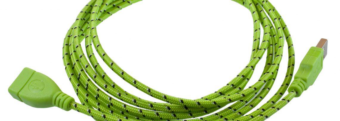 Кабель удлинитель USB2.0, AM/AF, Partner 3м, зеленая оплетка