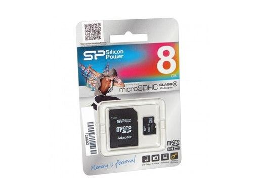 Карта памяти Micro Secure Digital Card 8GB Silicon Power+адаптер SD Class4