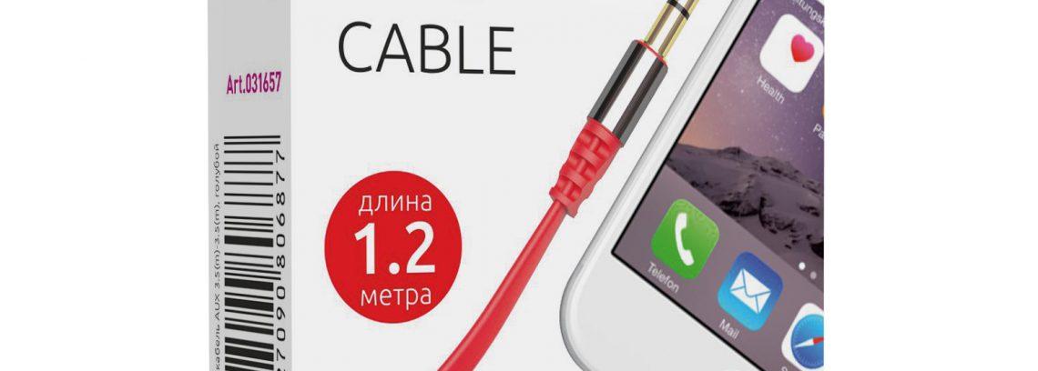 Кабель AUX (Аудио Джек 3.5мм (m-m) Partner 1.2м, красный