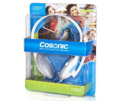 Наушники COSONIC CH-5086A-1P (бело-голубые, с микрофоном