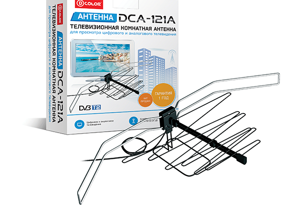 Антенна для Цифрового (DVBT2) и Аналогово ТВ D-Color DCA-121А (Комнатная/24дБ)
