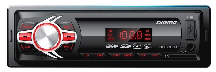 Автомагнитола DIGMA DCR-200R 1DIN/USB/SD/AUX/FM/MP3/4x45Вт