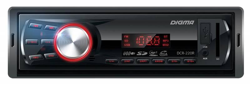 Автомагнитола DIGMA DCR-220R 1DIN/USB/SD/AUX/FM/MP3/4x45Вт