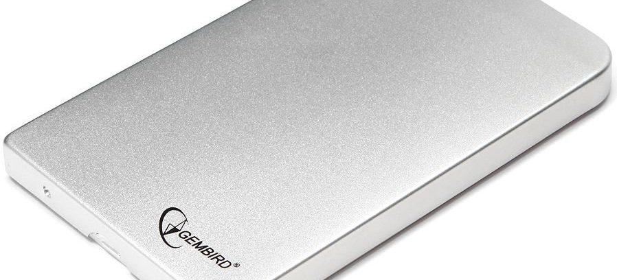 "Gembird EE2-U2S-41-S Sylver Внешний корпус для 2.5"" SATA-устройств, USB2.0, алюм"