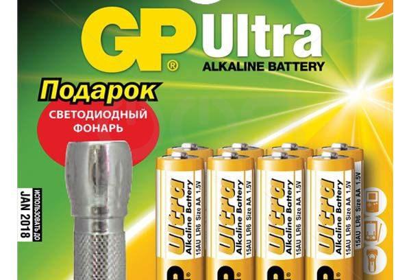 Батарейки AAA GP 24AU/FT Ultra Alkaline, 8шт+фонарик