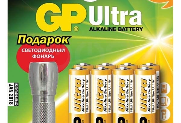 Батарейки AAA GP 24AU/FT Ultra Alkaline, 8шт+фонарик