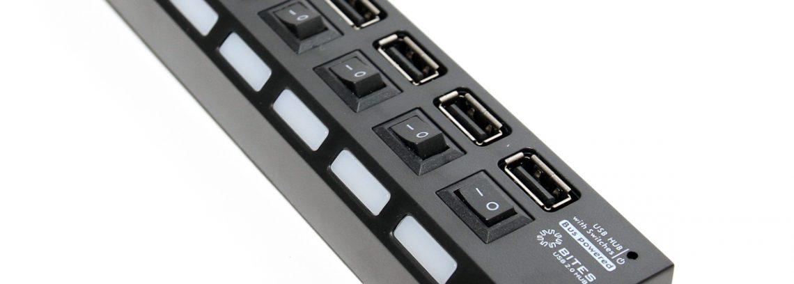 Концентратор 7-порт USB2.0 5bites HB27-203PBK,чёрный,БП-питания,Выключатели