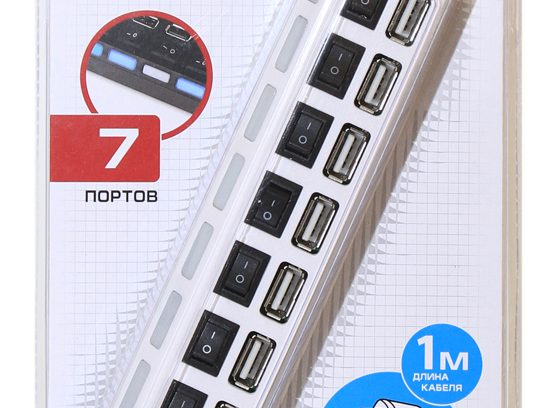 Концентратор 7-порт USB2.0 5bites HB27-203PWH,белый,БП-питания,Выключатели