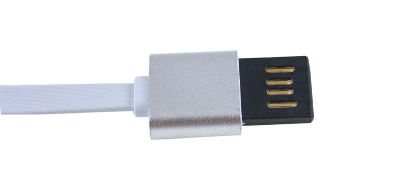 Кабель USB для iphone 5-7 Partner реверсивный,плоский,2.1A,Metal 1м.
