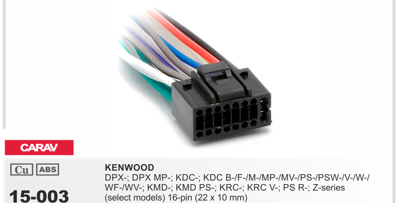 Кабель для автомагнитол KENWOOD,SONY.JVC (ISO-разъем)