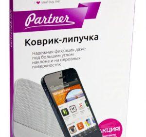 Противоскользящий коврик-липучка на приборную панель прозрачный, Partner