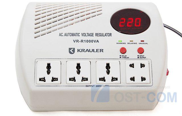 Стабилизатор напряжения Krauler VR-R1000VA 600Вт(белый) релейного типа