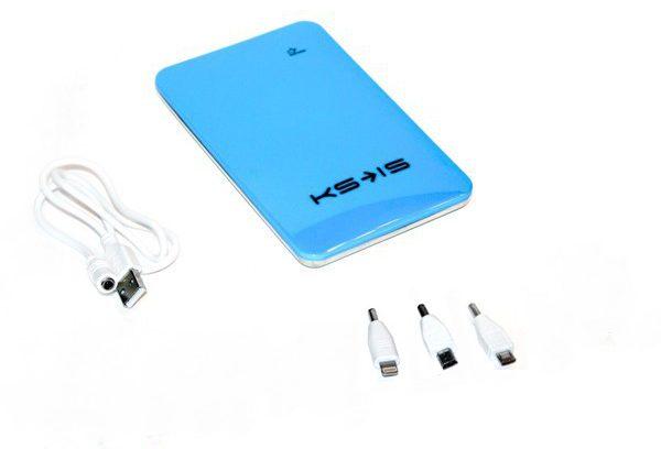 Портативный аккумулятор 10000мАч KS-is KS-215Blue 2USB+переходники