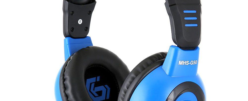 Игровая Гарнитура Gembird MHS-G50 черный/синий,рег.громк,откл.микроф,2.5м