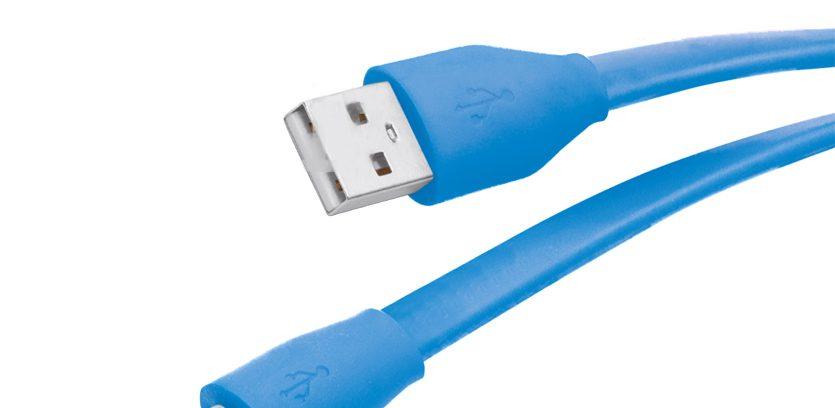 Кабель USB2.0 AM/microBM 5P Partner 2.1A,голубой,плоский, 1м