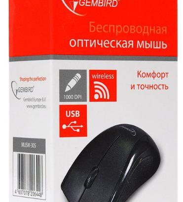 Мышь Gembird MUSW-305 черный/USB/1000DPI Беспроводная