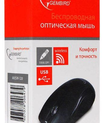 Мышь Gembird MUSW-320 черный/USB/1000DPI Беспроводная