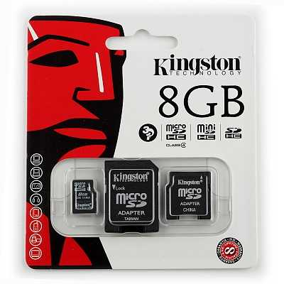 Карта памяти Micro Secure Digital Card 8GB KINGSTON + адаптер SD Class 4
