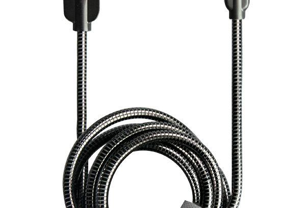 Кабель USB для iPhone 5-7 Partner STEELY lightning,1.2м,2.1A,серый,мет.штекеры