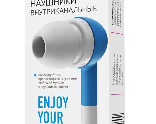 Наушники внутриканальные Partner Style,пластик,голубые