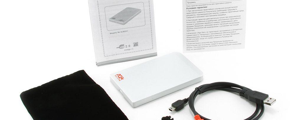 """AgeStar SUB2O1 silver Внешний корпус для 2.5"""" SATA-устройств, USB2.0, алюм"""