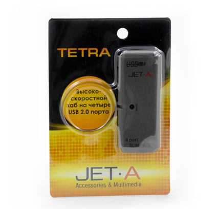 Концентратор 4-порт USB2.0 Jet.A JA-UH7, чёрный