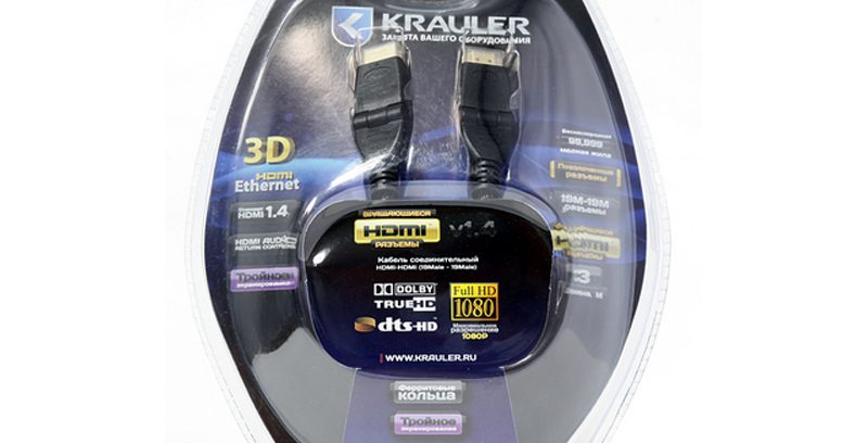 Кабель HDMI M/HDMI M KRAULER V1.4b,Зол,90град.угол,Оплётка,3-йЭкран,блистер 5м.