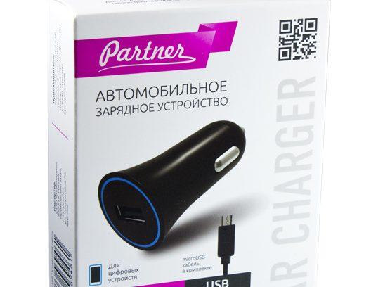 Автомобильное зарядное устройство Partner 1A +microUSB
