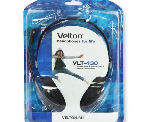 Наушники Velton VLT-430 с микрофоном/рег.громкости
