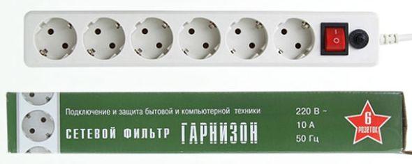Сетевой фильтр Гарнизон ЕНW-6 белый, 6 розеток, 1,8м